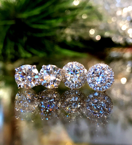 Diamond Halo Stud Earrings featured at Teels Jewelry