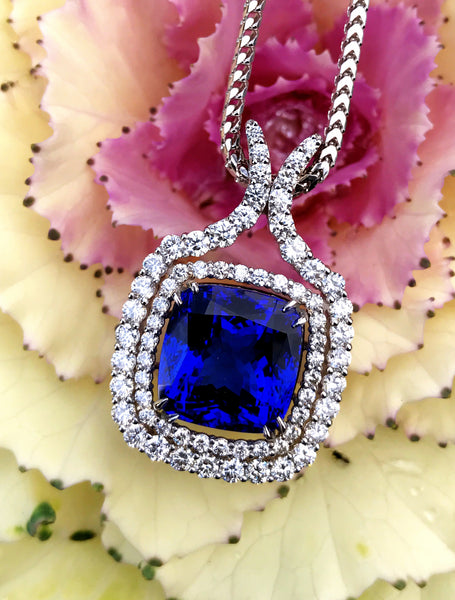 Custom Tanzanite and Diamond Pendant in 18k White Gold by Teels Jewelry