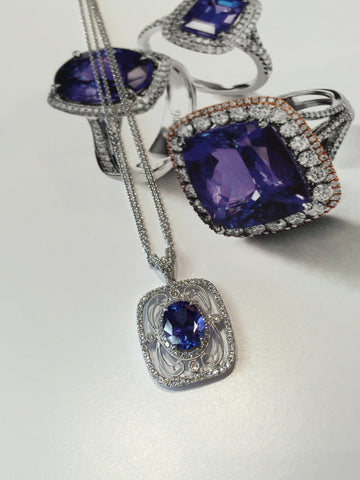 Vintage Inspired 18k White Gold Tanzanite and Diamond Pendant by Simon G