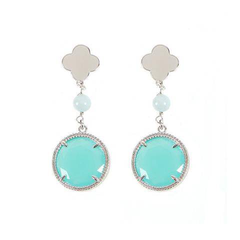 Teal and Clover Dangle Earrings by Boccadamo
