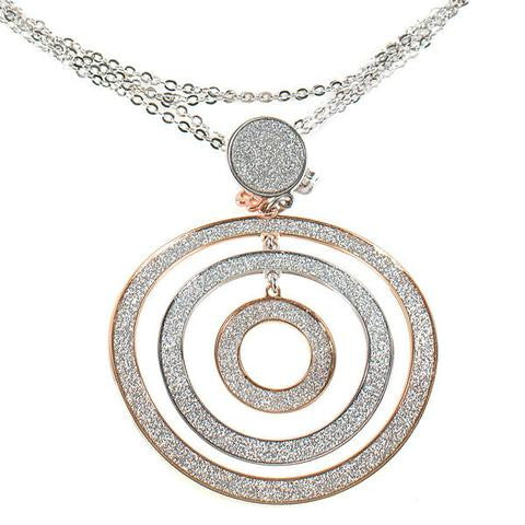 Sparkle Textured Three Ring Pendant by Boccadamo