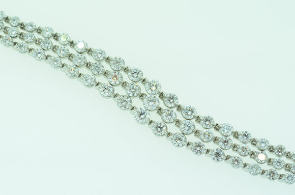 Luscious 14k White Gold 3-Row Diamond Tennis Bracelet by Teels Jewelry