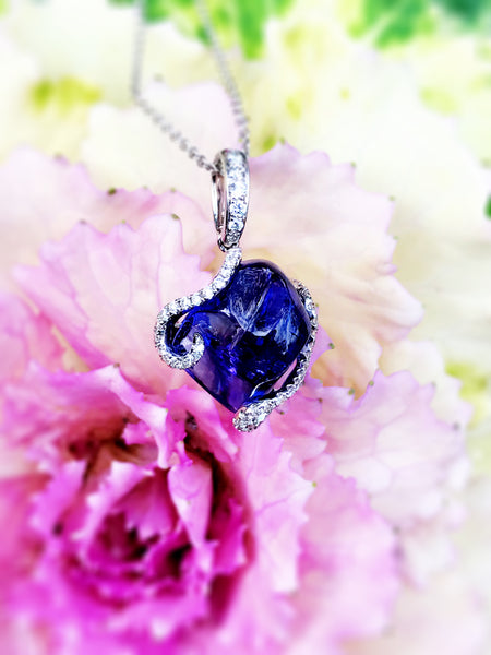 """One of a Kind"" Tumbled Tanzanite Diamond Pendant"
