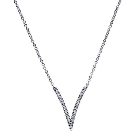 "Modern ""V"" Diamond Necklace by Gabriel & Co"