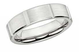 White Gold Mens Band with Verticle Grooves featured by Teels Jewelry