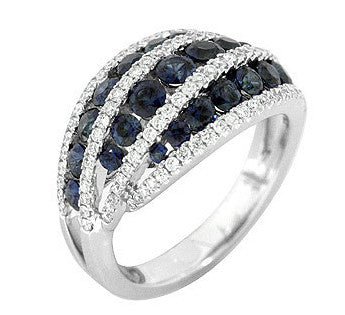 "Graceful 18k White Gold Blue Sapphire and White Pave Diamond ""Wave"" Ring by Gregg Ruth"