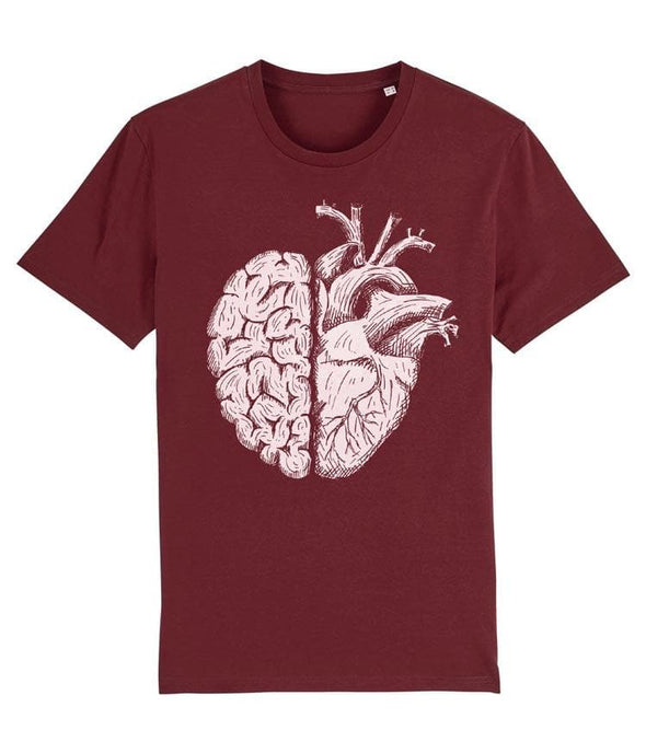 Brain and Heart Men's T-shirt Burgundy