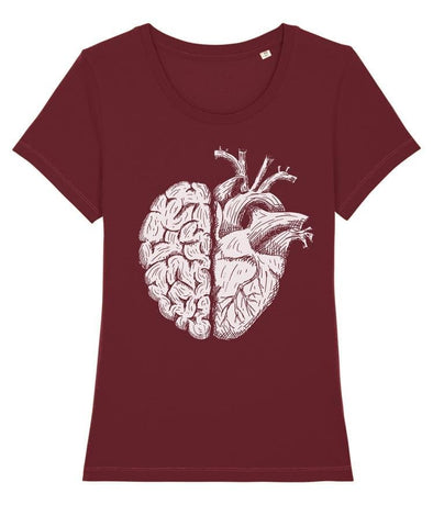 Brain and Heart Women's T-shirt Burgundy