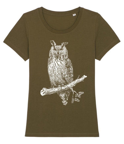 Great Horned Owl Women's T-shirt Khaki
