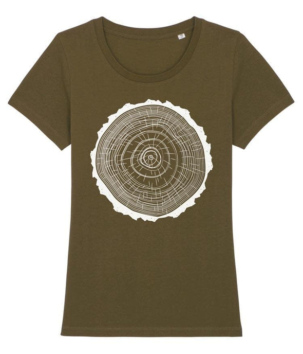 Tree Rings Women's T-shirt Khaki