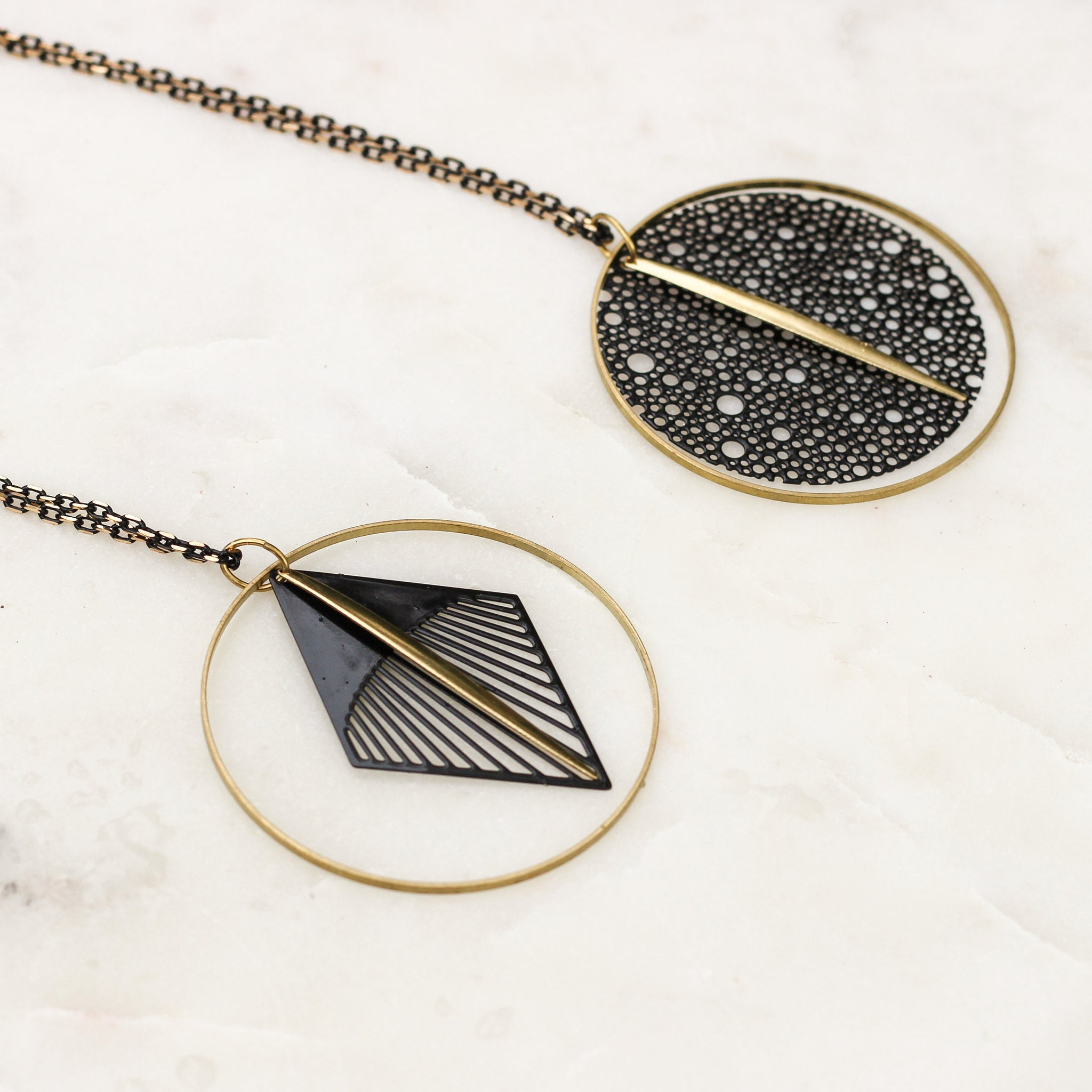 Art Deco Matte Black and Brass Mixed Metal Necklace | Minimalistic Jewelry | Geometric Necklace