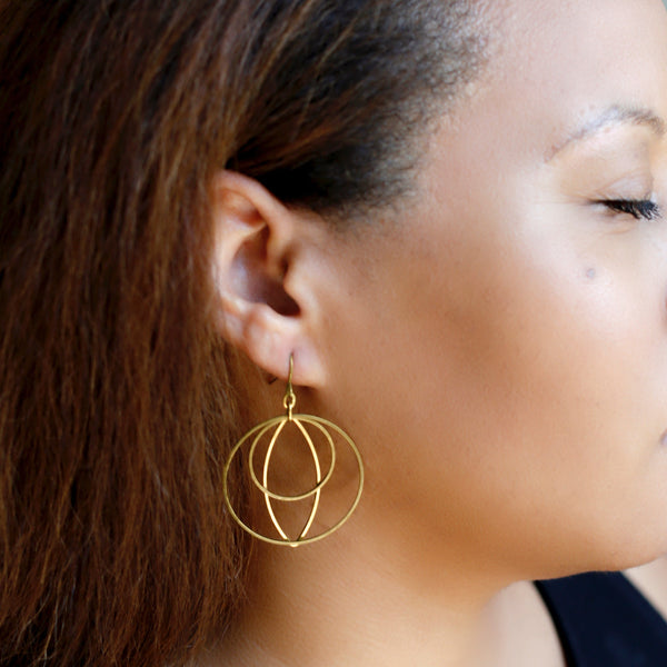 Mixed Metal Earrings | Brass Hoop Earrings | Perfect for Weddings and Anniversaries | Geometric Earrings for Moms| Aunts & Kids