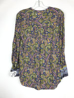 Photo #1 - BRAND: ANN TAYLOR LOFT <BR>STYLE: TOP LONG SLEEVE <BR>COLOR: BLUE YELLOW <BR>SIZE: S <BR>OTHER INFO: PAISLEY <BR>SKU: 164-164140-16440