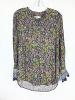 Primary Photo - BRAND: ANN TAYLOR LOFT <BR>STYLE: TOP LONG SLEEVE <BR>COLOR: BLUE YELLOW <BR>SIZE: S <BR>OTHER INFO: PAISLEY <BR>SKU: 164-164140-16440