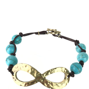 Primary Photo - BRAND:    CLOTHES MENTOR STYLE: BRACELET COLOR: TURQUOISE OTHER INFO: BROWN TWINE, INFINITY SYMBOL SKU: 164-164140-14325