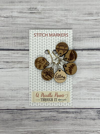 Wooden Ring Stitch Markers by A Needle Runs Though It