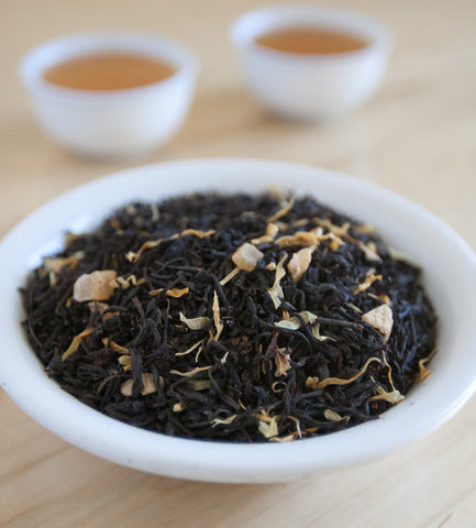 Our Ginger Mango, Chinese Black Tea, offers the lushness of fancy mangoes, and a hint of spicy ginger, blended in a base of premium Ceylon tea.