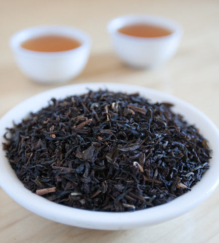 Russian Caravan, Chinese black tea, has long been considered a novelty by the Russian Aristocracy. It is mildly smoky and delicately spicy.