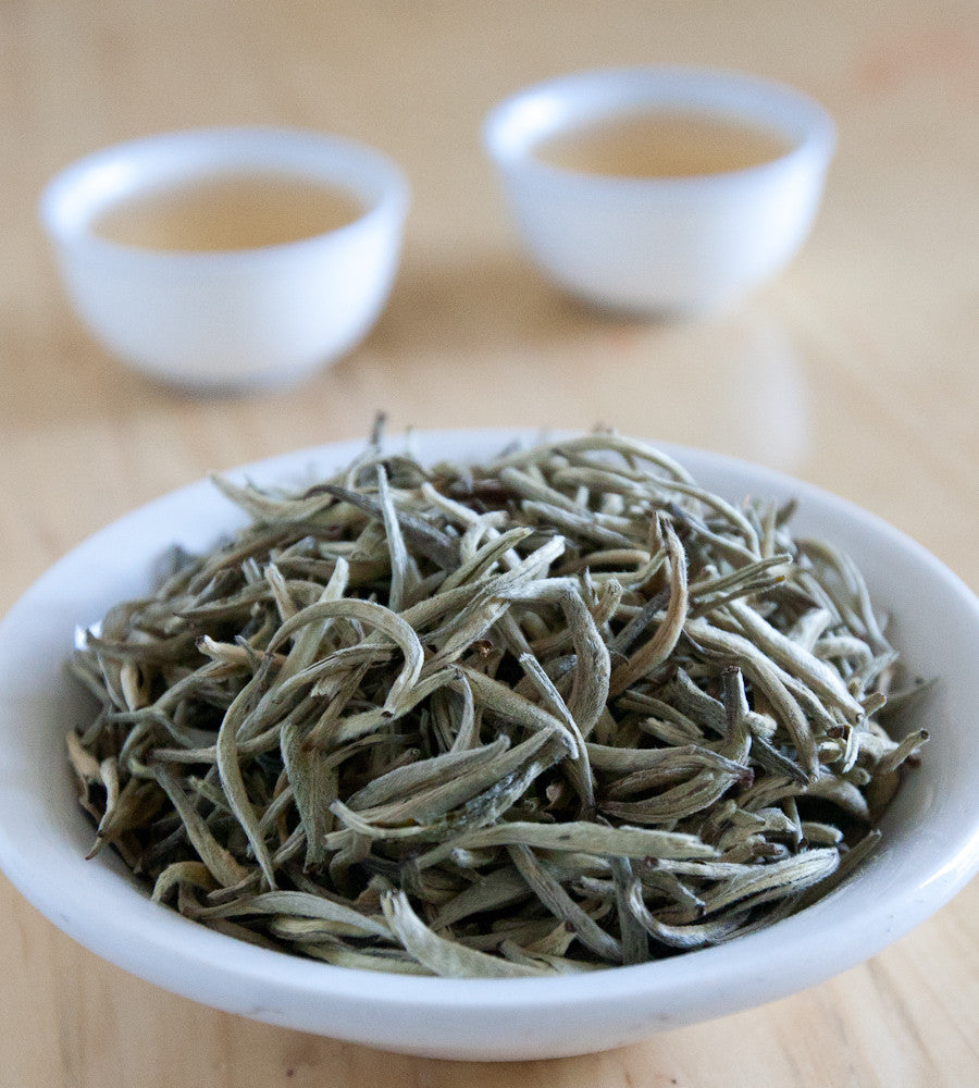 "Silver Needle ""Yin Zhen"" is the finest of white tea, delicate and sweet with an almost clear cup. The tea is soft and downy with a long balanced sweetness."