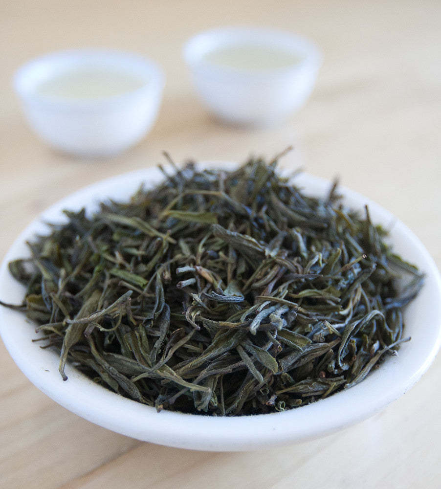 Vivid Huoshan Yellow Bud is a rare green tea that actually has leaves and an infusion that is yellow in color.
