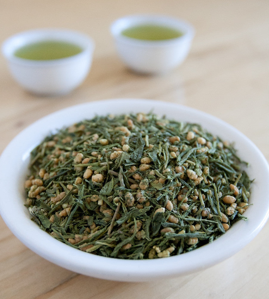 Genmaicha is a mellow blend of roasted and puffed brown rice grains combined with Sencha green tea