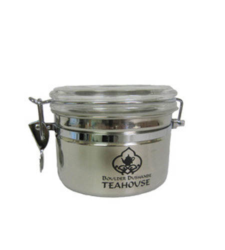 Teahouse Logo Stainless Steel Airtight Canister