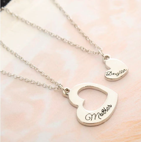 Mother and Daughter Necklace Set in Silver