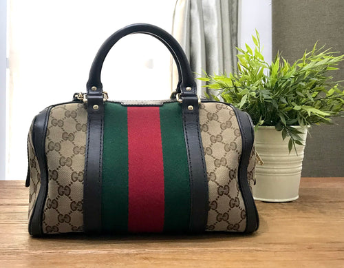 Gucci Mini Boston Canvas Preloved