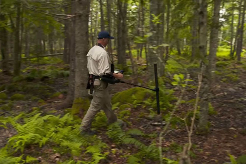 OKM eXp 6000 on Oak Island: Gary Drayton scanning the forest
