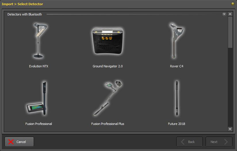 Software dialog to select metal detector from OKM