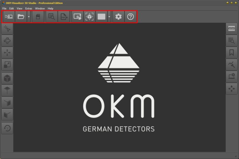 Location of Main Toolbar withing GUI of OKM Visualizer 3D Studio