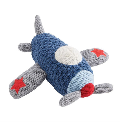 Transportation Knit Rattles- Plane