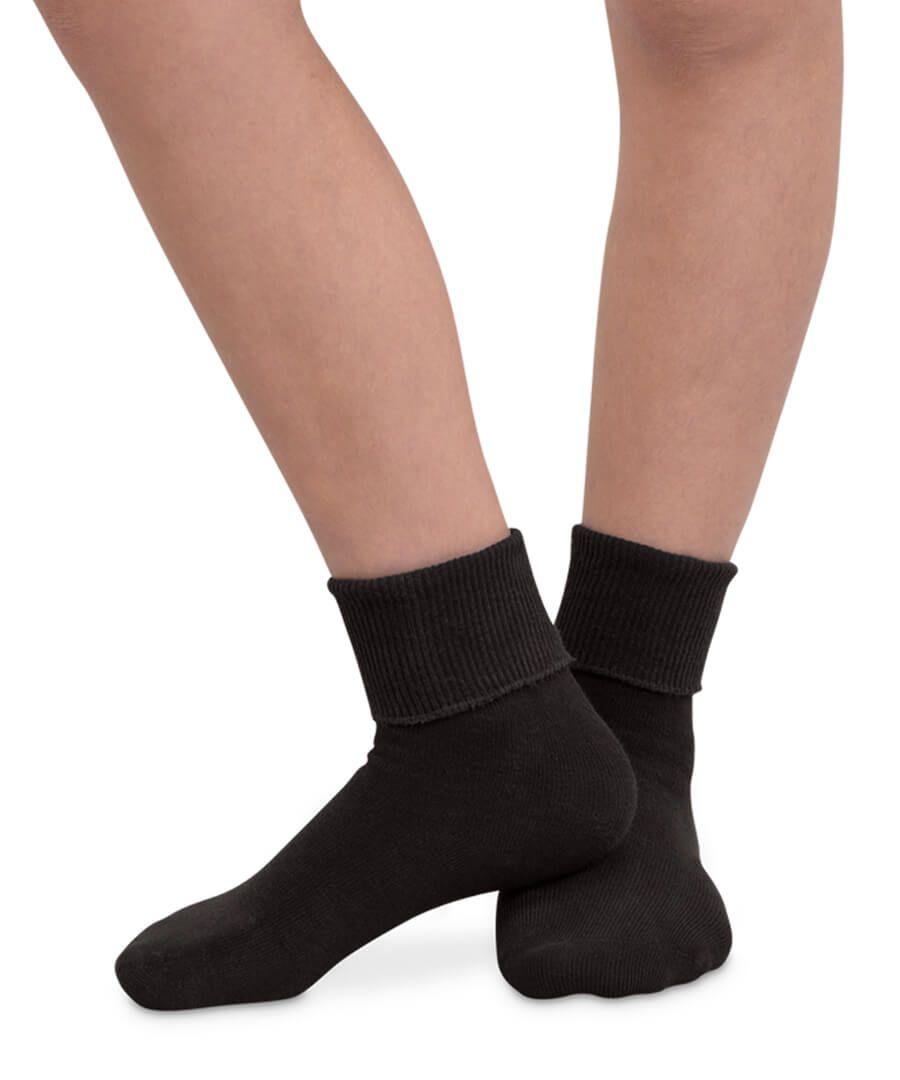 Smooth Toe Organic Cotton Turn Cuff Socks- Black