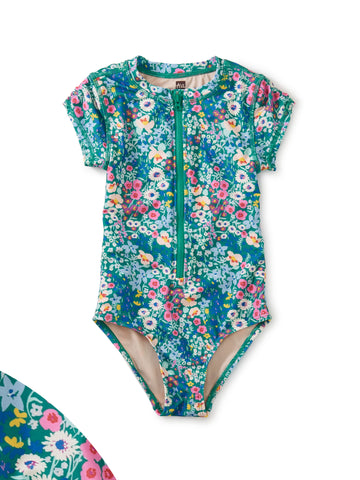 Rash Guard One- Piece Swimsuit- Garden Blue