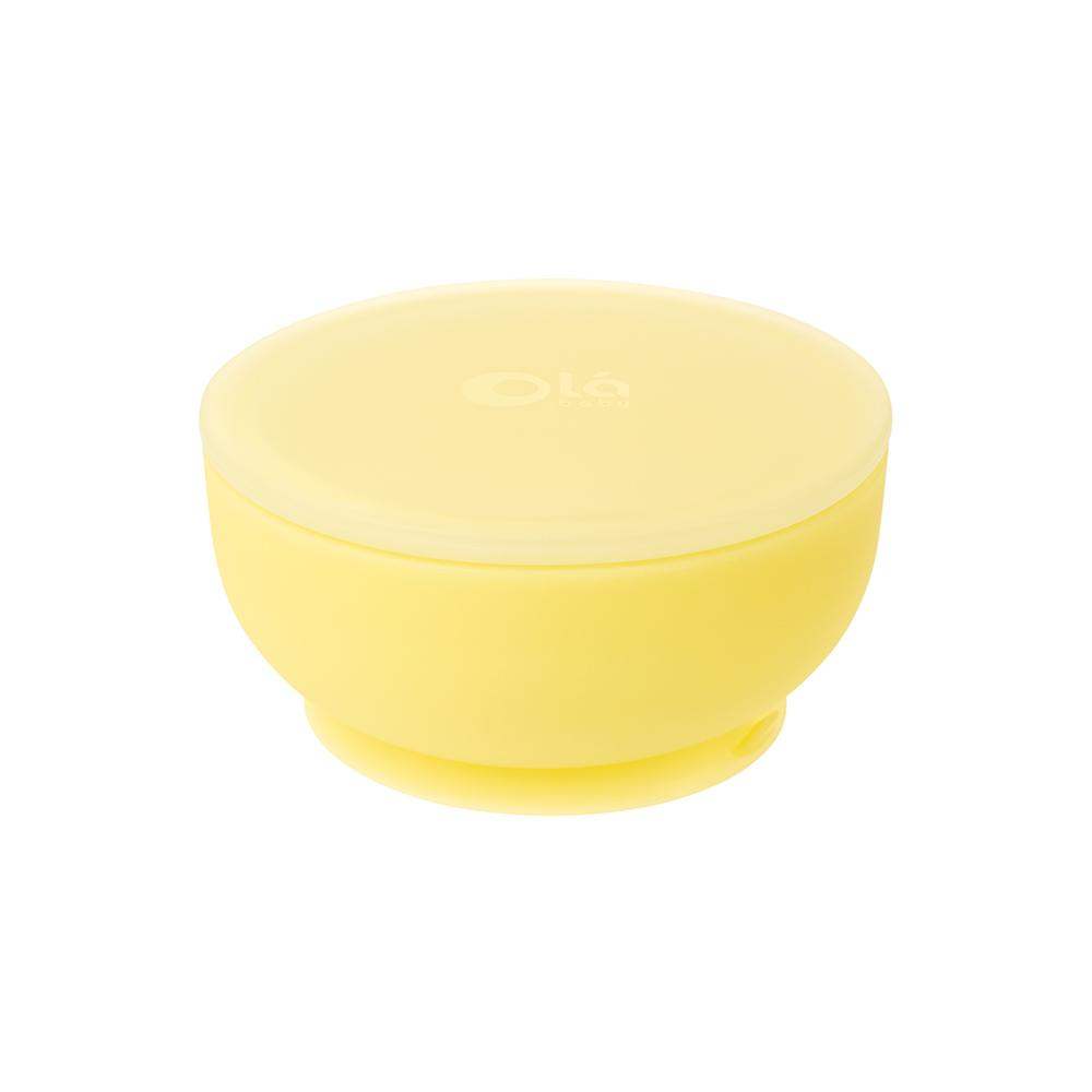 Suction Bowl w/ Lid- Lemon