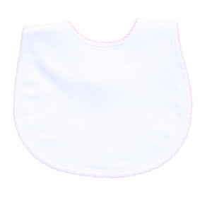 Essentials Bib- White with Pink Trim