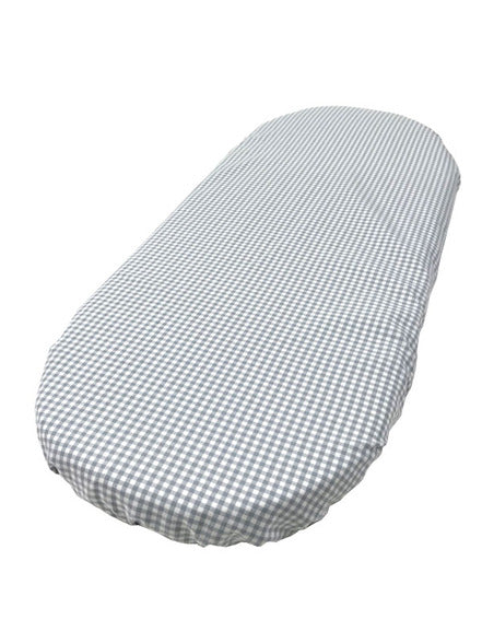 Cotton Fitted Oval Sheet- Gray/White Gingham