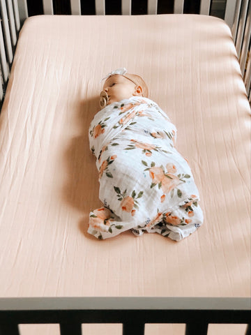 Cotton Muslin Crib Sheet- Rose Petal