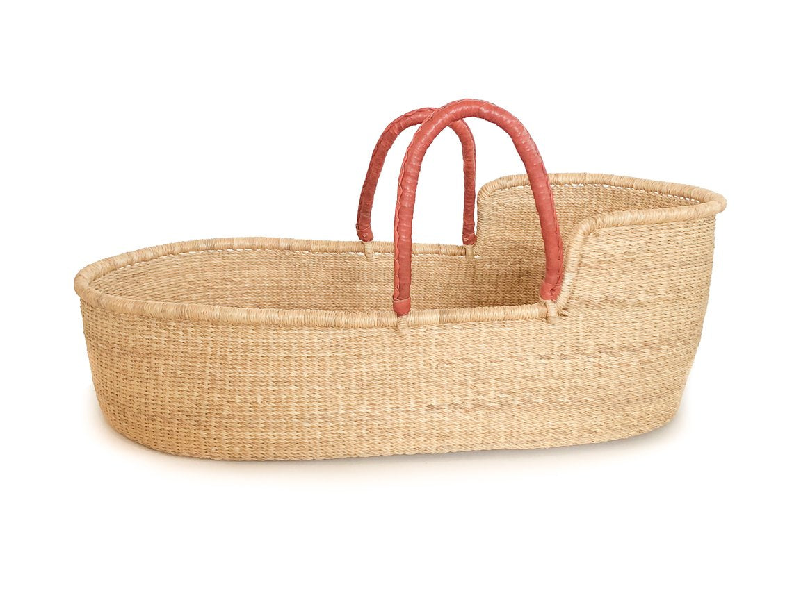 Pelu Moses Basket - Natural Beige with Rust Handles