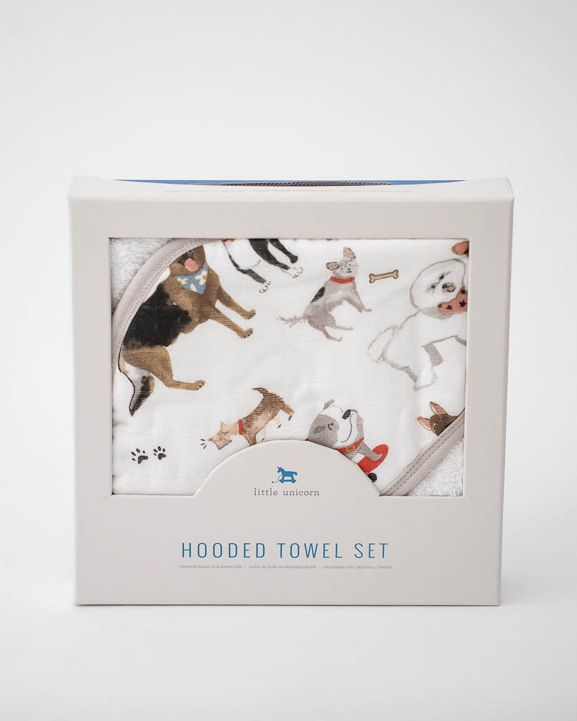 Cotton Hooded Towel & Wash Cloth Set - Woof