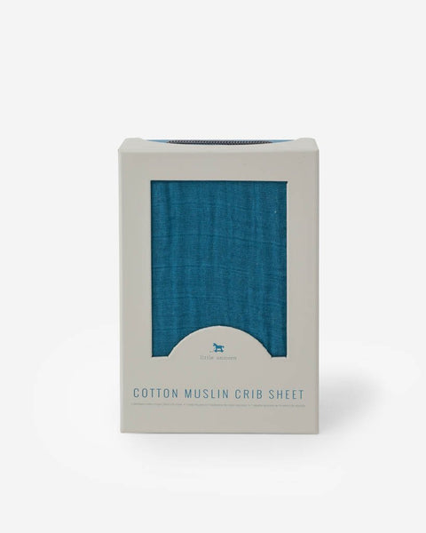 Cotton Muslin Crib Sheet- Lake