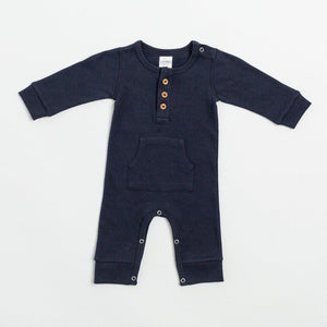 Everyday LS Romper- Navy