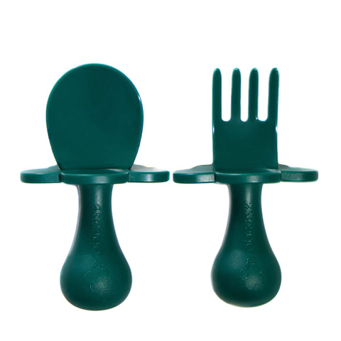 First Self Feeding Utensil Set- Forest Green