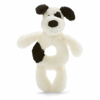Bashful Black and Cream Puppy Ring Rattle