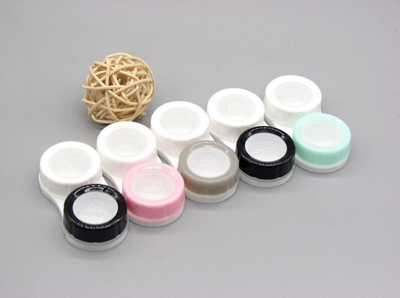 Double Color Transparent Multicolor Colored Contact Lens Case Beauon White+grey