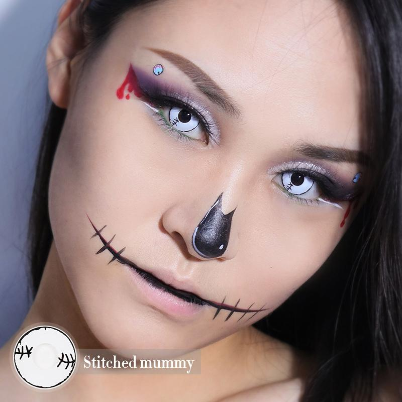Halloween Stitched mummy White Colored Contact Lenses Beauon