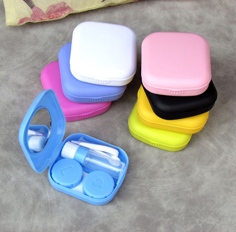 Lovely square portable Multicolor Colored Contact Lens Case Beauon