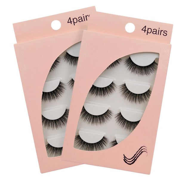 New Natural Slim 4 Piece G102 Mink Hair Eyelashes Beauon