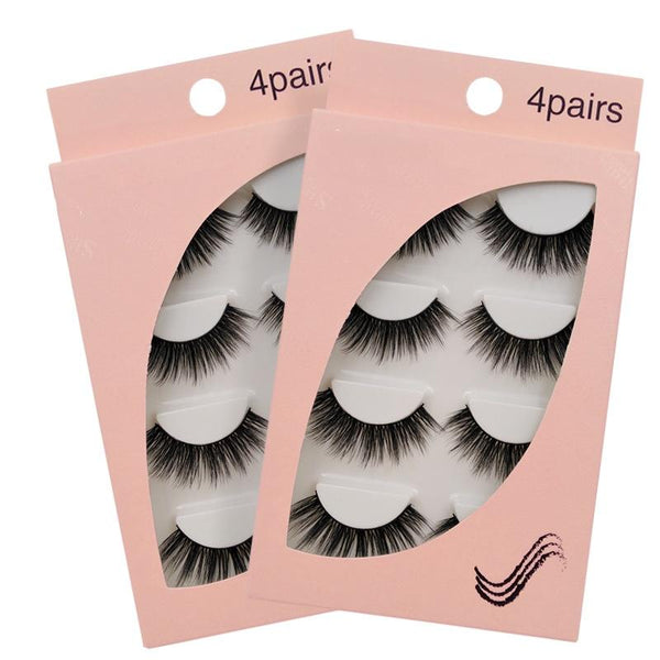 New Natural Slim 4 Piece G109 Mink Hair Eyelashes Beauon