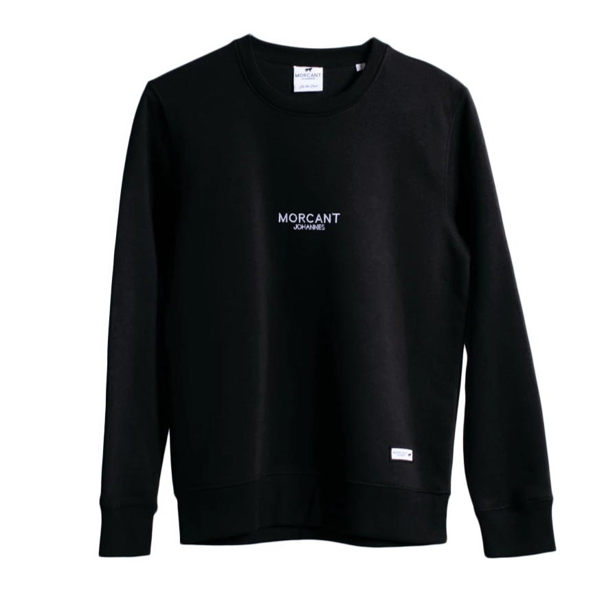 Full shot image of our black organic Morcant sweatshirt, featuring minimal Morcant Johannes embroidered centrally and a branded Morcant patch.